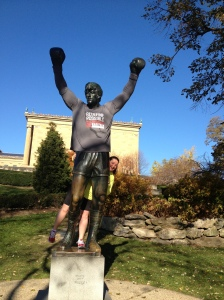 "The day before the Philly Marathon, with ""Rocky."""